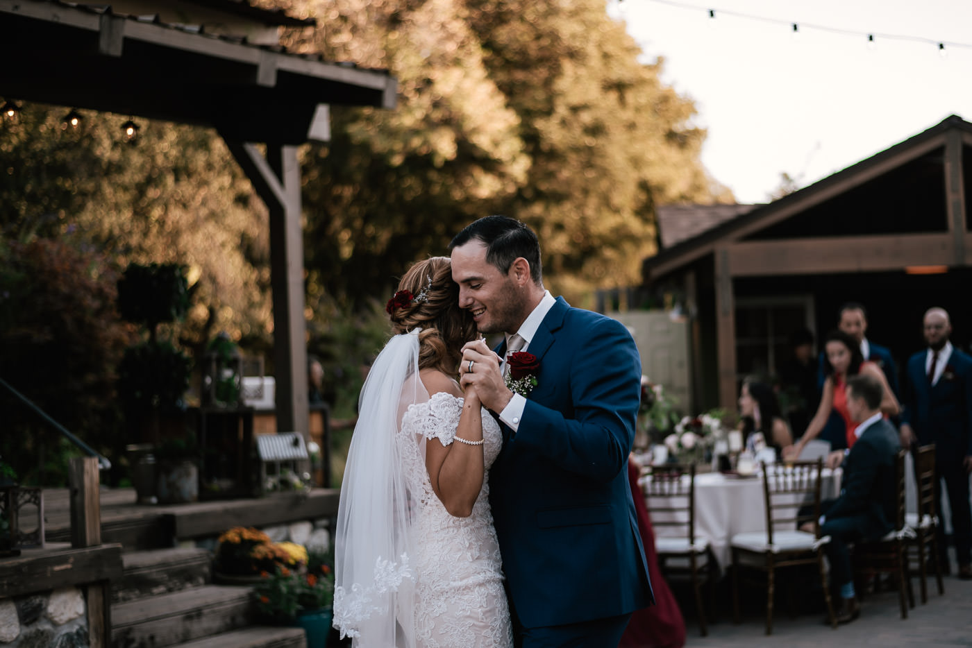 Nothing but smiles on this newlywed couples face during their first dance.