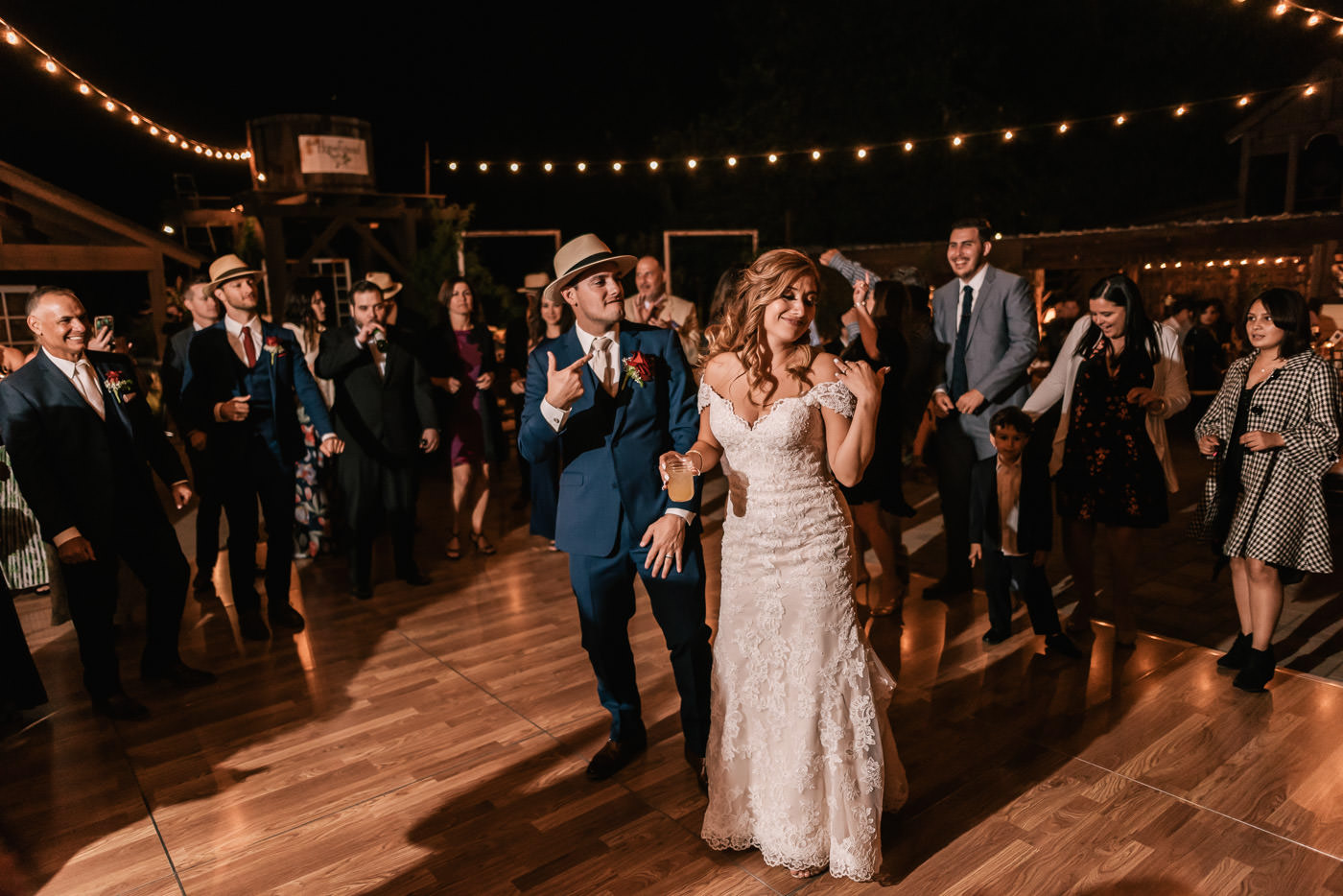 Bride and groom hit the dance floor after their ceremony.
