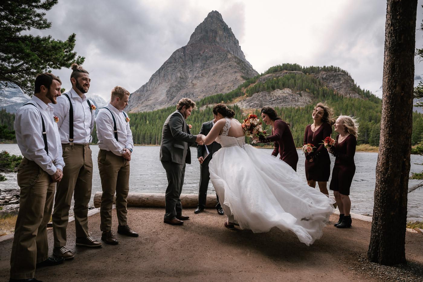Lakeside elopement ceremony in Glacier National Park.