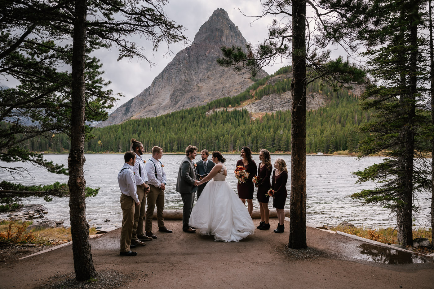 Intimate wedding ceremony in Many Glacier.