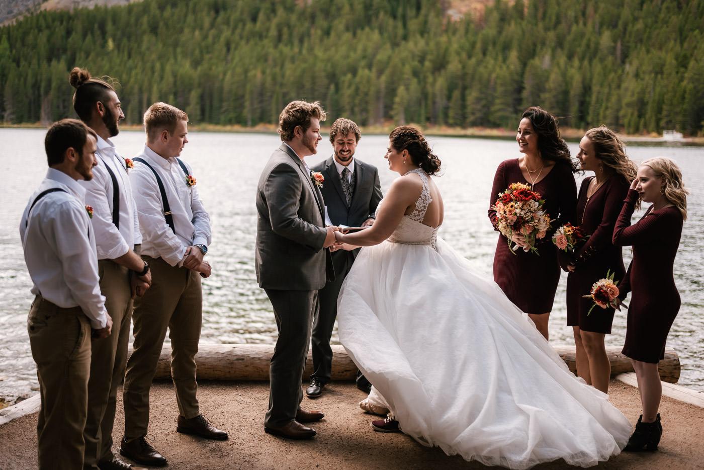 Montana elopement photographer captures magical lakeside wedding ceremony.