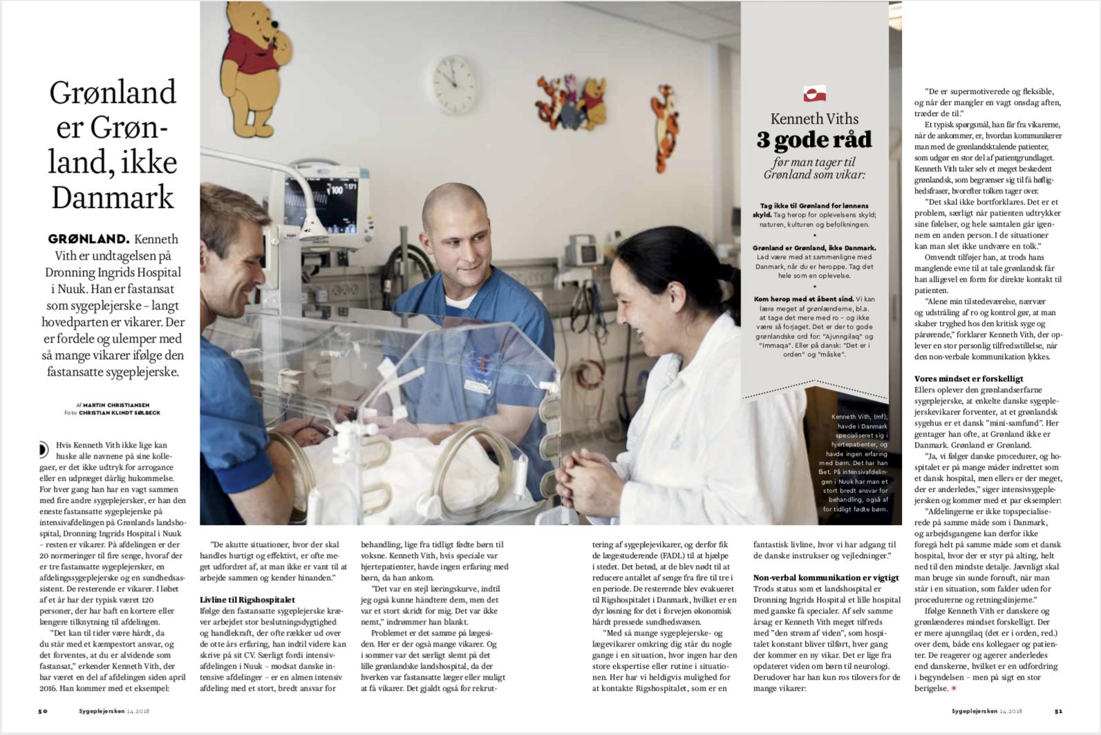 Sygeplejerske Kenneth Vith, Dronning Ingrids Hospital, Nuuk, for Fagbladet Sygeplejersken.