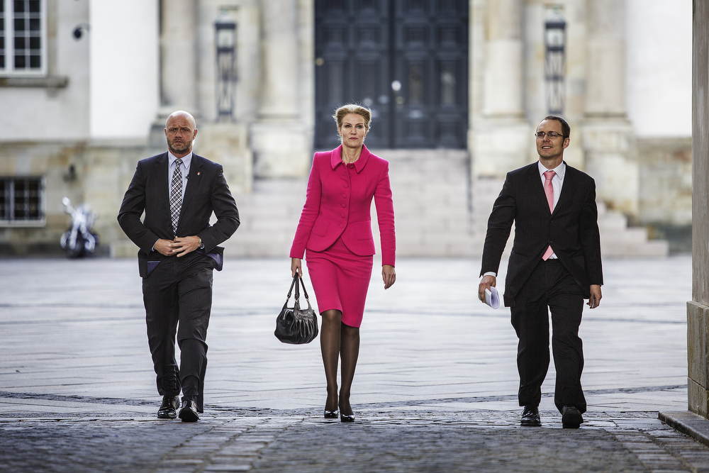 Danish Prime Minister Helle Thorning-Schmidt on her way to the official church service before the opening of the Parliament.