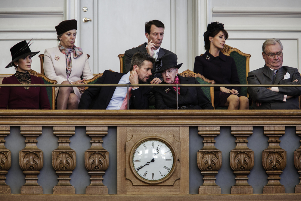 The Royal Family at their reserved seats in Parliament.