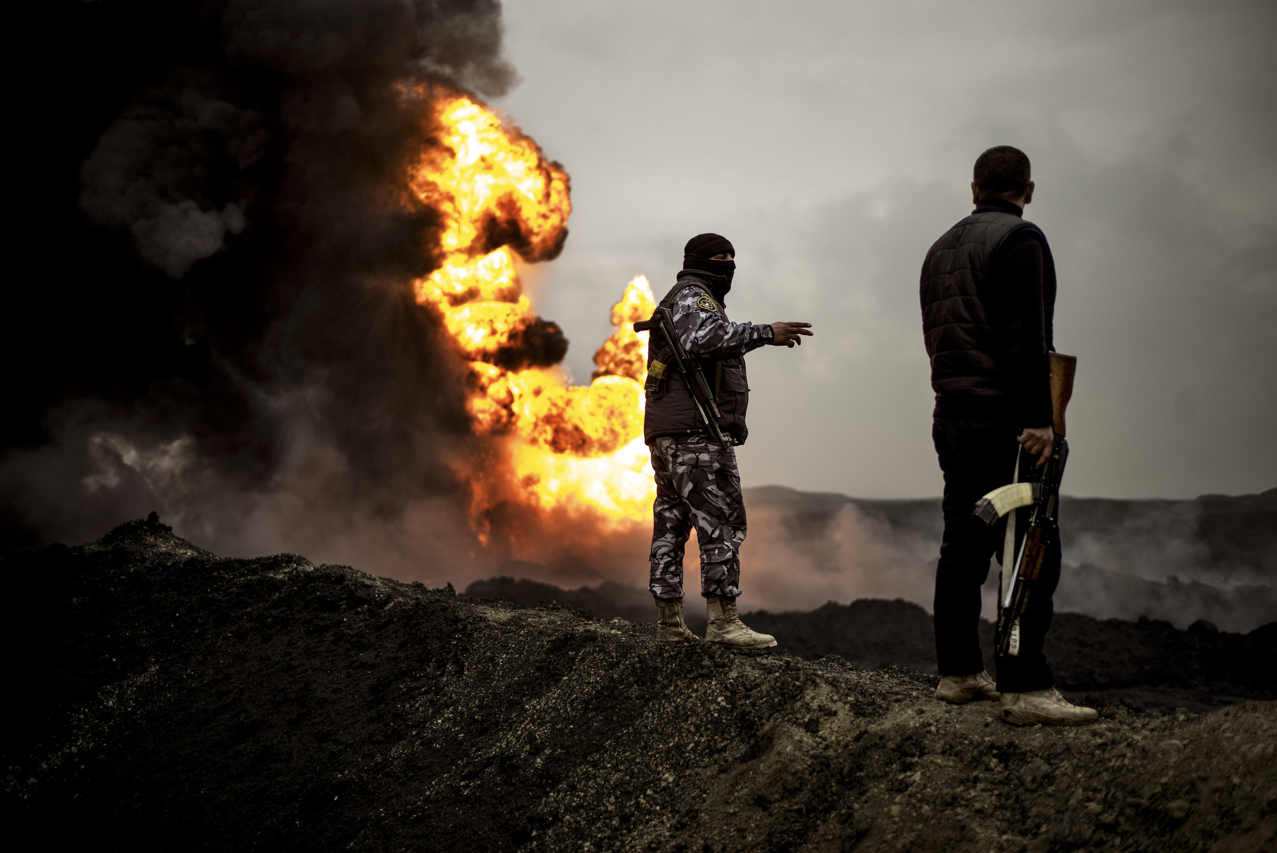 When ISIS retreated from Qayyarah, they set fire to 18 of the city's oil wells. It's taken the firefighter ten months to extinguish the flames.