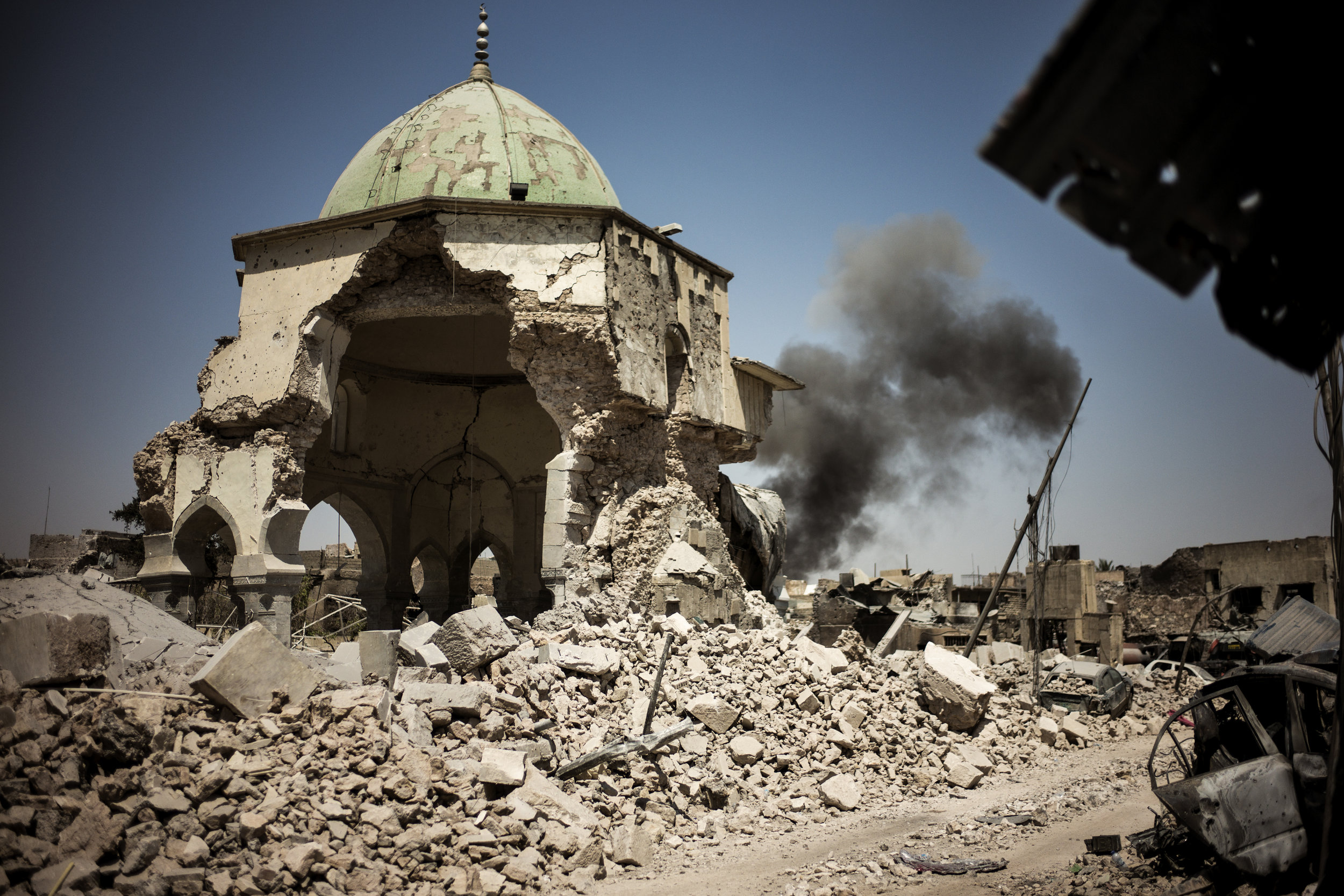 The ruins of the Al Nuri Mosque where the caliphate was declared in 2014.