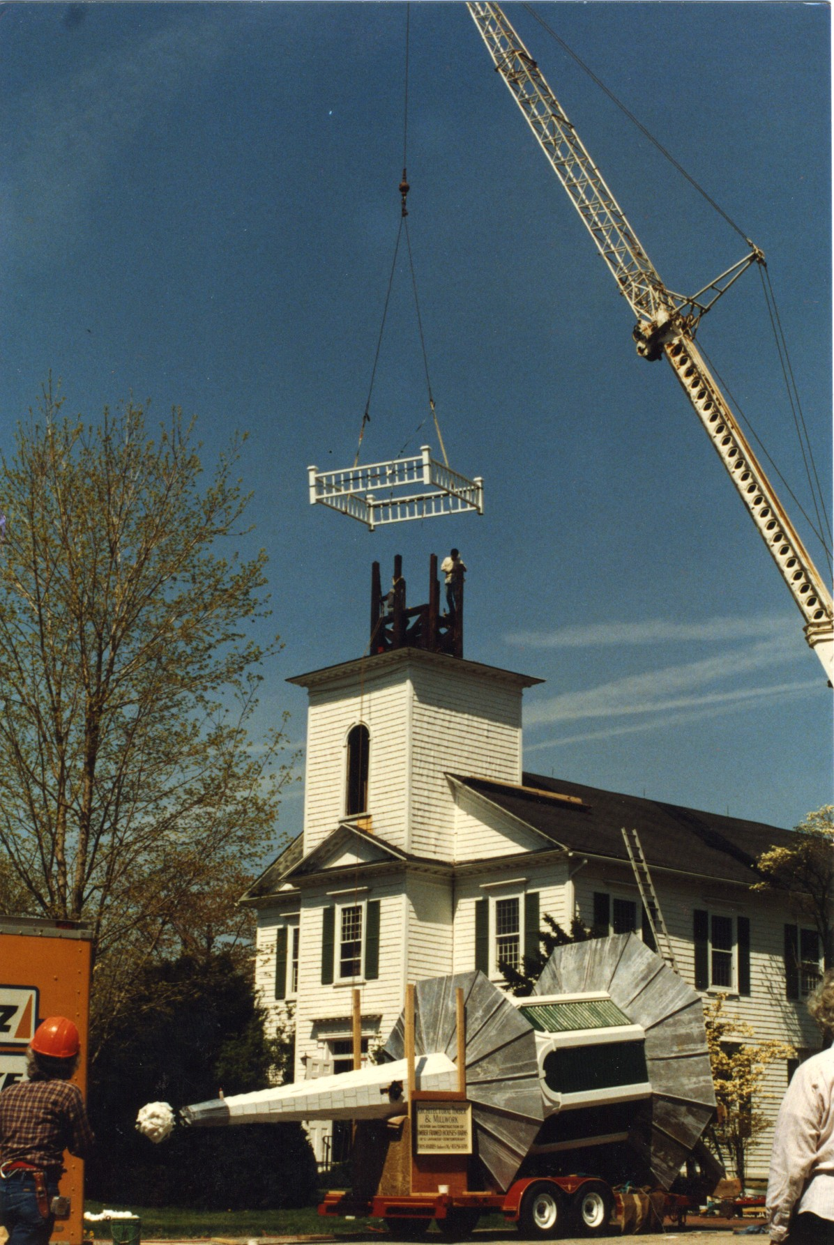 A two cupola steeple with spire atop nathrex
