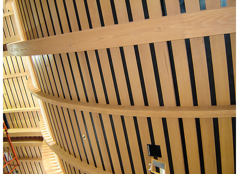 Curved wood slat ceiling