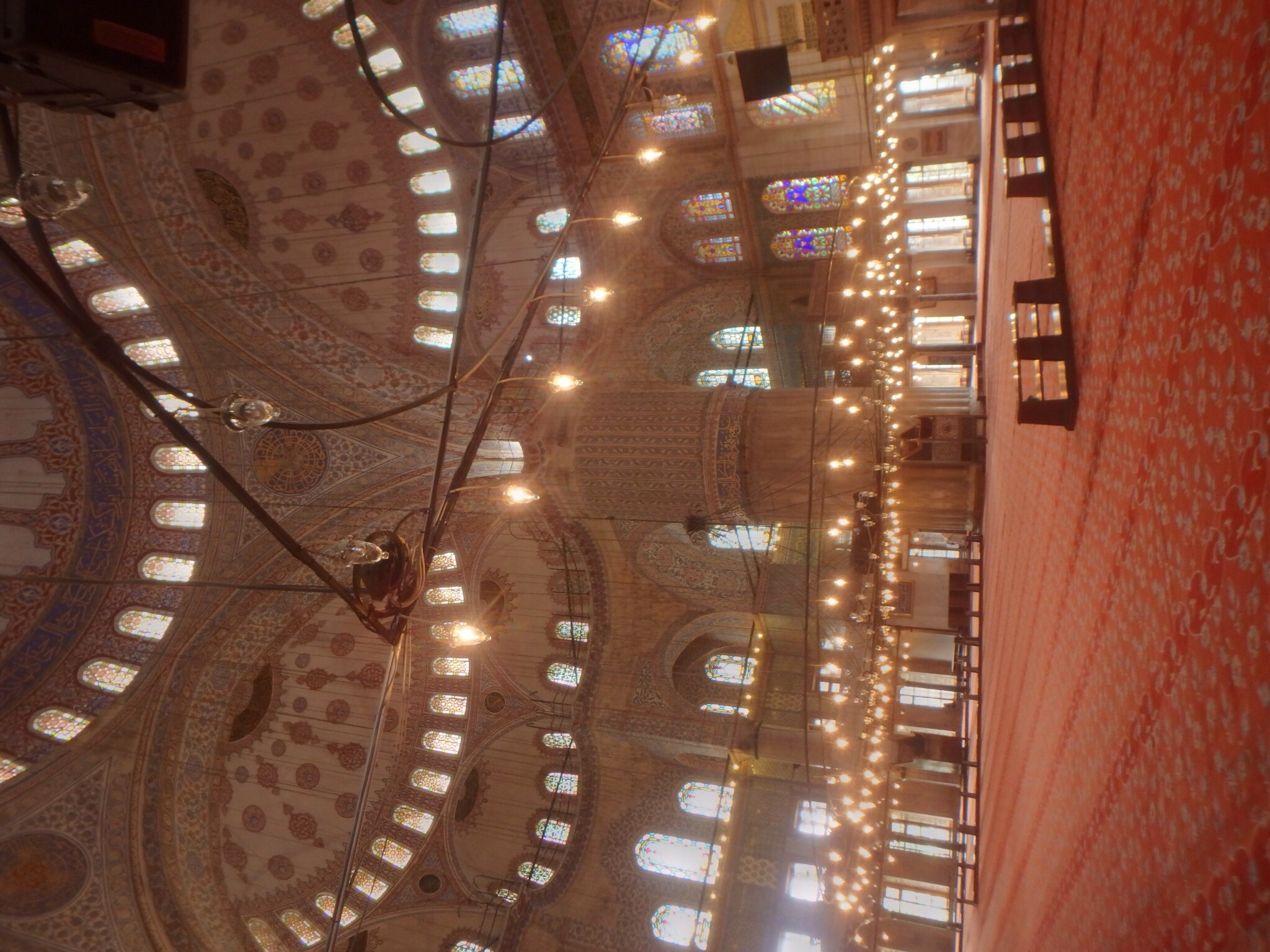 Inside the Blue Mosque. It doesn't look very blue here but it's quite lovely!