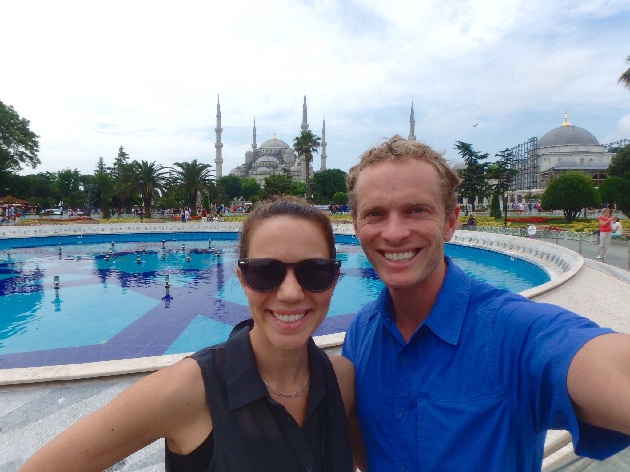 Enjoying the city is an understatement! The Blue Mosque is in the background.