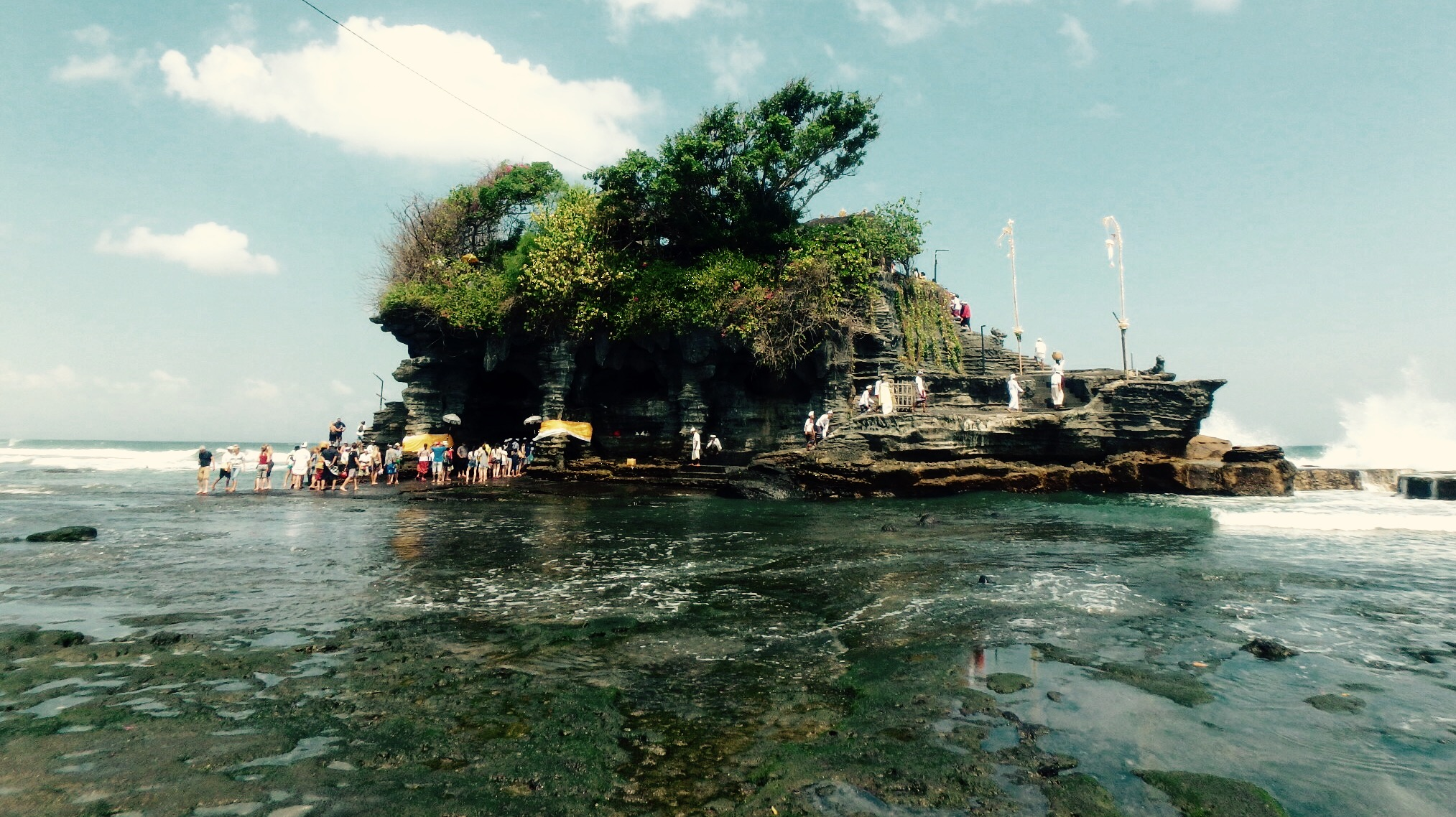 Pura Tanah Lot, a revered and popular sea temple on Bali's coast.