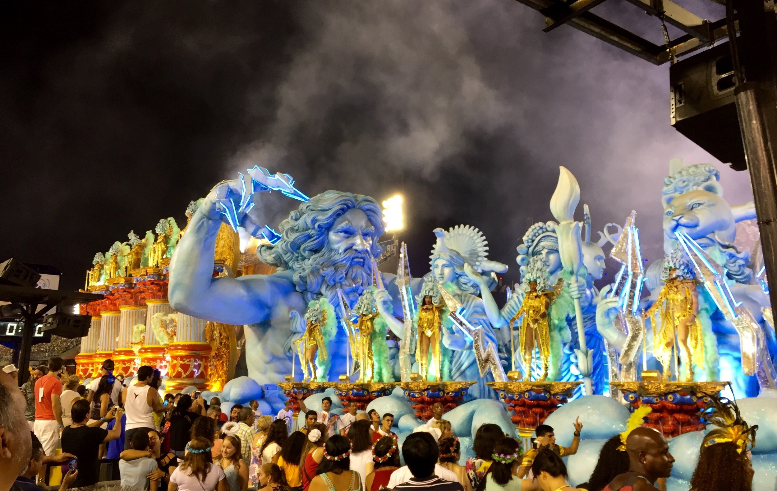 One of the samba school floats featured Zeus - complete with lightning-like fingertips.