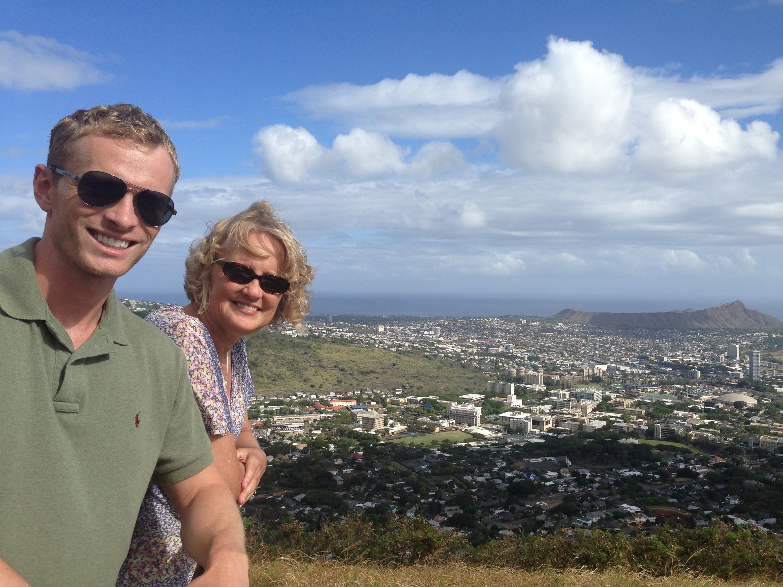 Jonathan and Susanne taking in the view of Diamond Head in Oahu, Hawaii, August 2013.