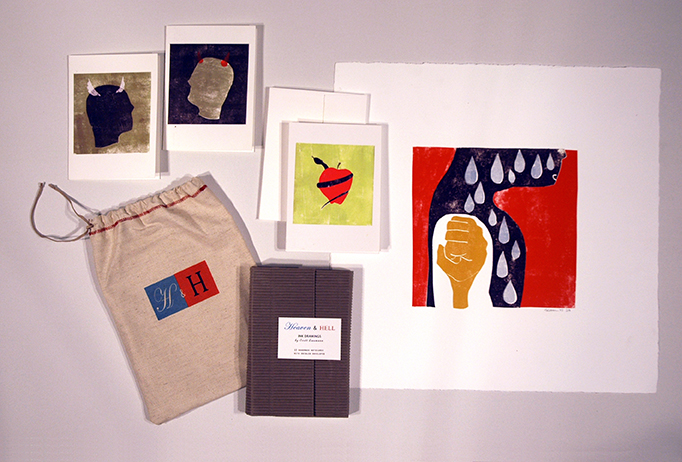 Card set, screen printed and hand sewn bag, archival print. Limited edition set of 20.