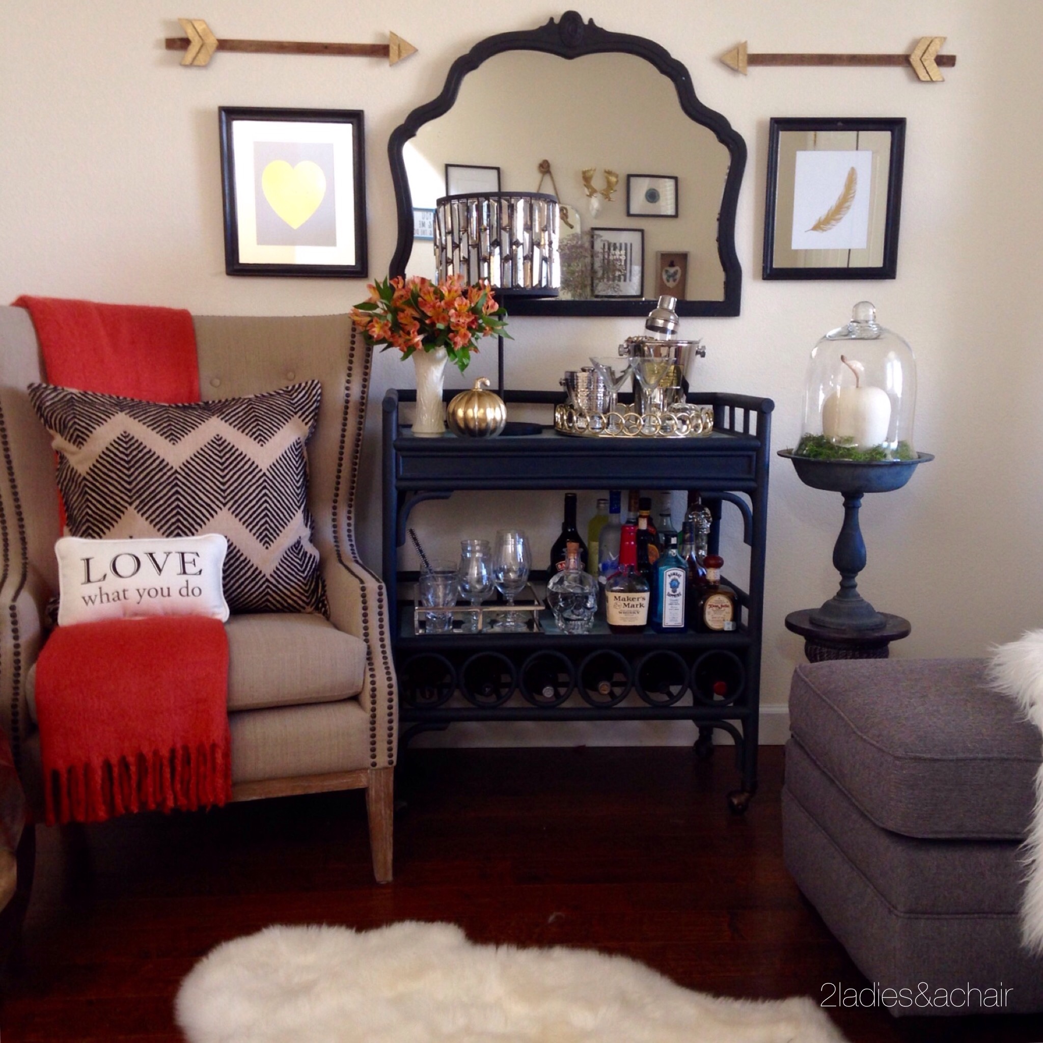 Front room and bar cart