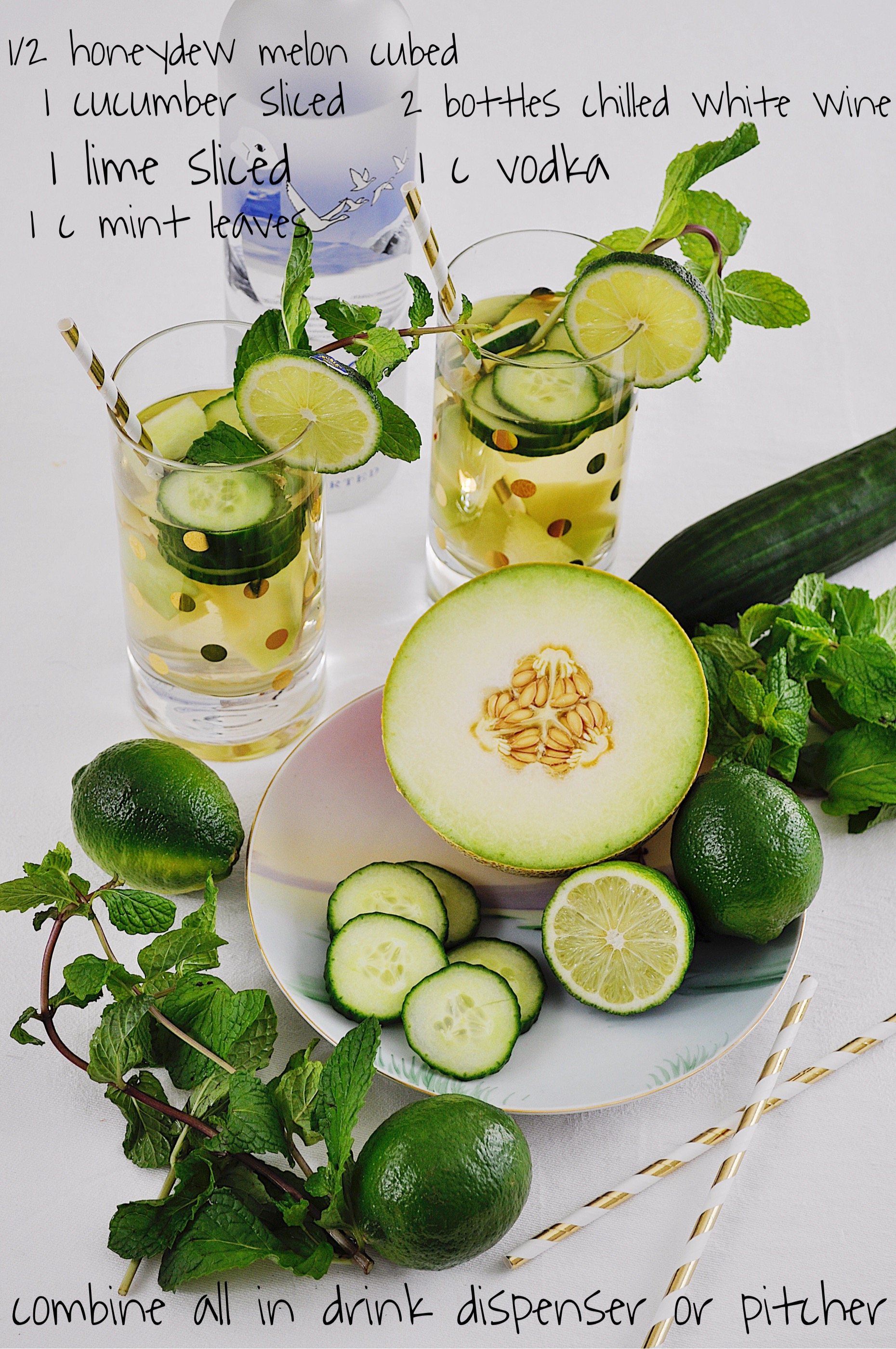Have extra melon, cucumber, lime, and mint available for garnish!