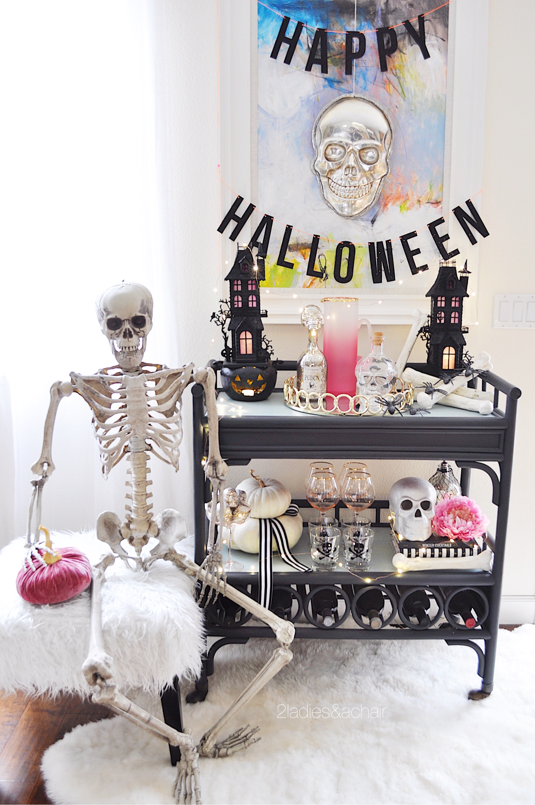 Bar Cart Decorating Ideas for Halloween — 2 Ladies & A Chair