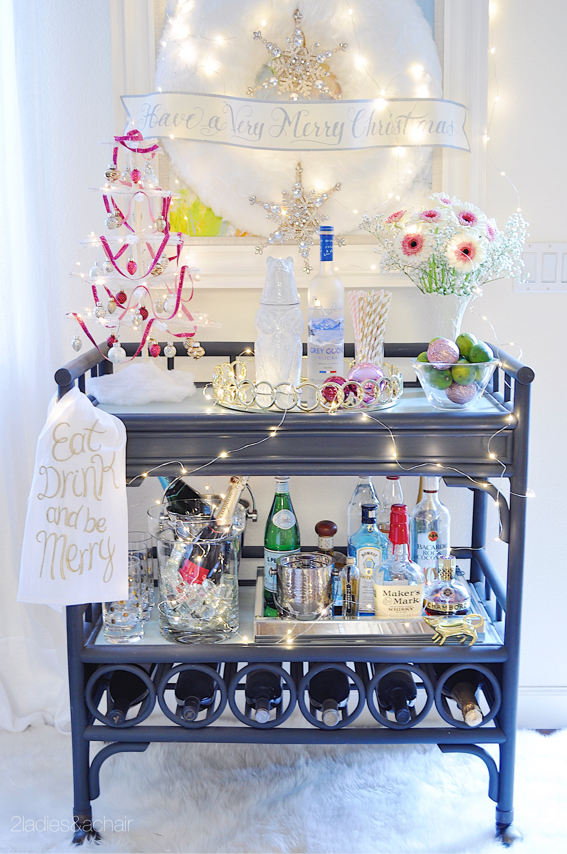 This bar cart is ready to serve!