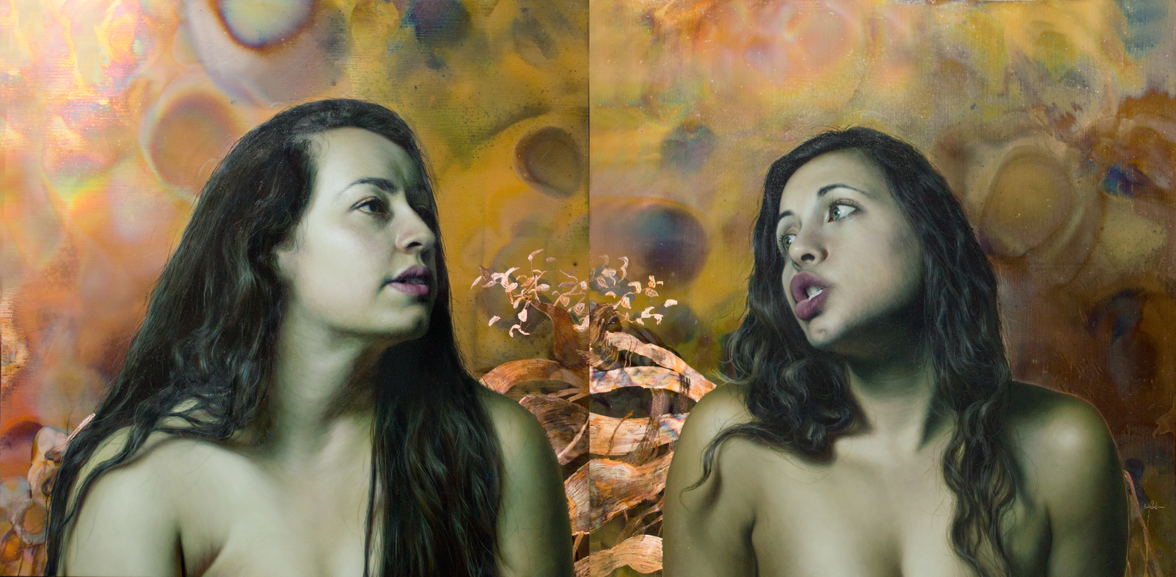 "Erin Anderson  The Twins  diptych - 12""x24"""