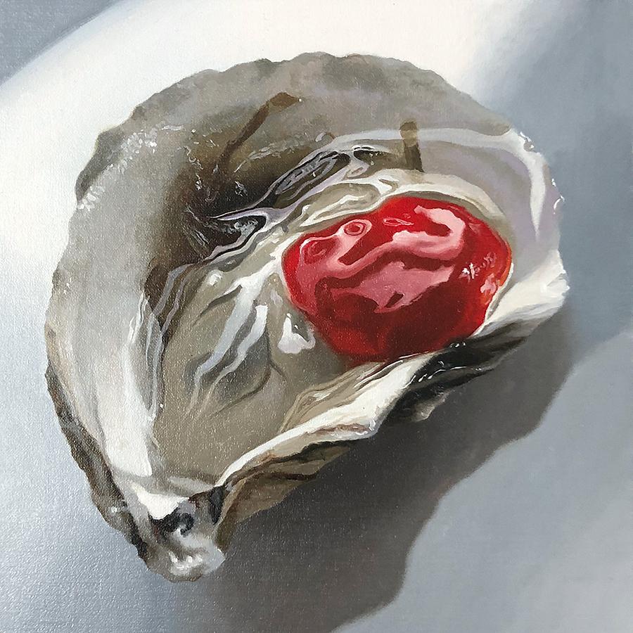 "Sexy Oyster , 2019, Oil on Linen framed, 8""x8""  Nadinerobbinsart.com , Nadine Robbins  845-233-0082"