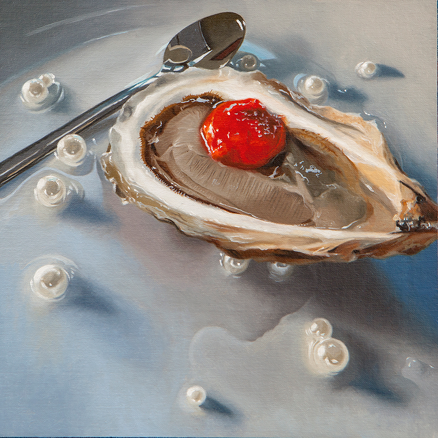 "Pearls , 2019, Oil on linen framed, 8""x8""  Anthony Brunelli Fine Art,  John Brunelli  +1 607 772 0485"