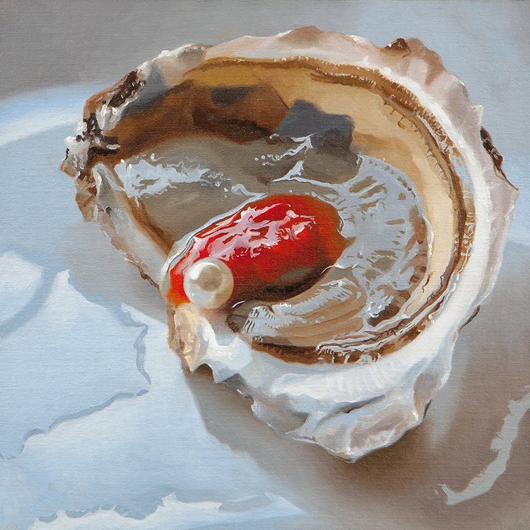"Wellfleet Pearl,  2019, Oil on linen framed, 8""x8""  Anthony Brunelli Fine Art,  John Brunelli  +1 607 772 0485"
