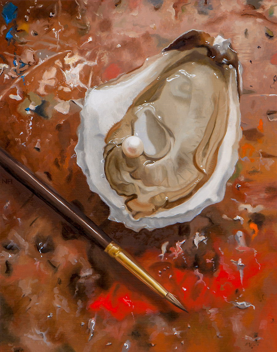 "The Painted Oyster,  2019, Oil on linen framed, 14""x11""  Anthony Brunelli Fine Art,  John Brunelli  +1 607 772 0485"