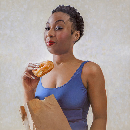 "Runnin on Dunkin , 2018, Oil on linen, 24"" x 24"". Available at  Bernay Fine Art"