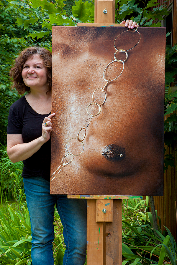 """Nadine Robbins next to her painting """"Purple"""" 36"""" x 24"""" Oil on Linen. Available at  Ille Arts  in Amagansett"""