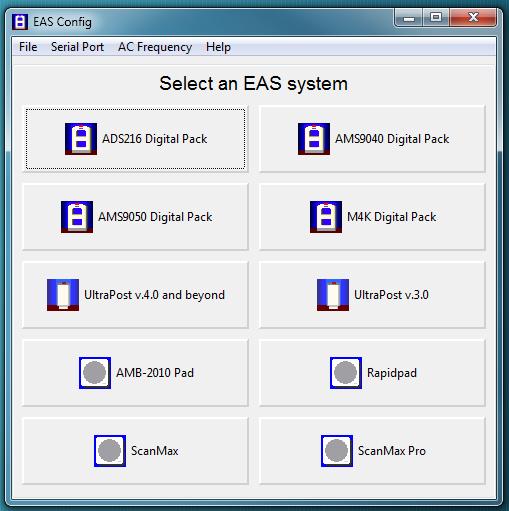 System Setup Module Software - Main menu