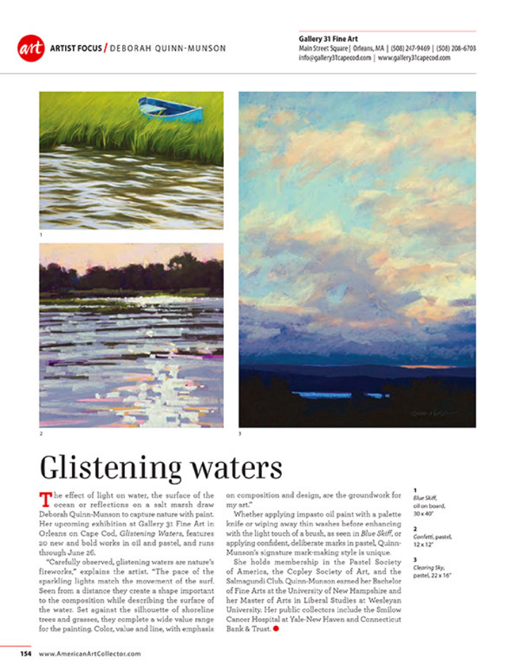 This is the ARTIST FOCUS on Deb in the June 2015 issue of the American Art Collector magazine.