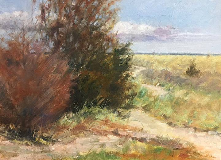 Walk in the Dunes   9 x 12 Oil / $700