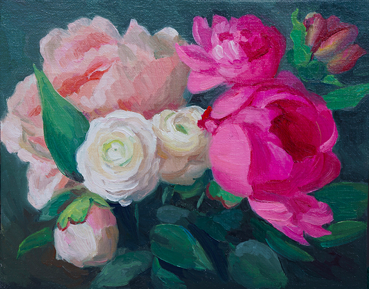 Ranuculus and Peonies   8 x 10 Oil / $400