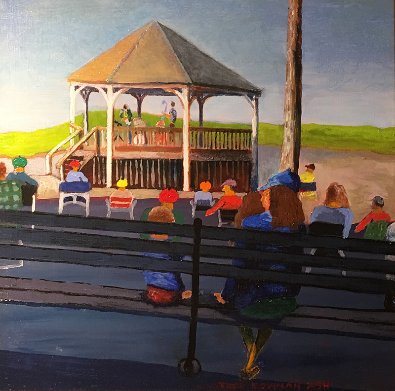 Music, Nauset Beach (Gazebo)   Oil 12 x 12 $350 (This painting is a treasure as the iconic gazebo was moved this winter after four March 2018 storms did unreparable damage to our beloved shoreline in East Orleans.)