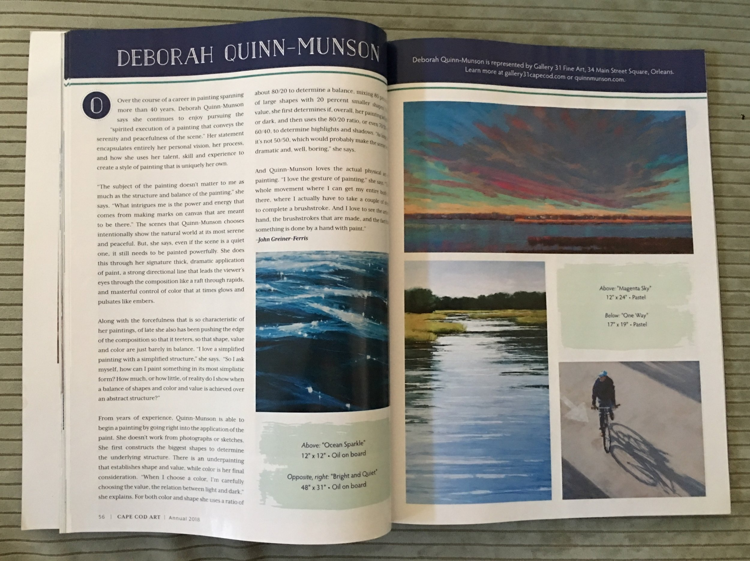 This two page spread features the work of Deb in the 2018 CAPE COD ART ANNUAL edition of CAPE COD LIFE MAGAZINE. Wonderful!
