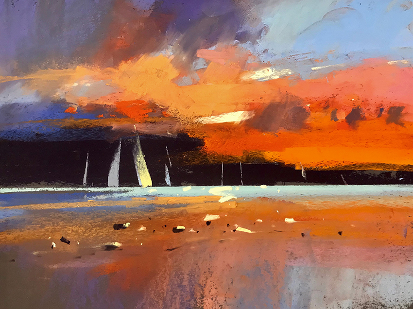 Sunset on the Cape   12 x 16 pastel by Tony Allain / $1800