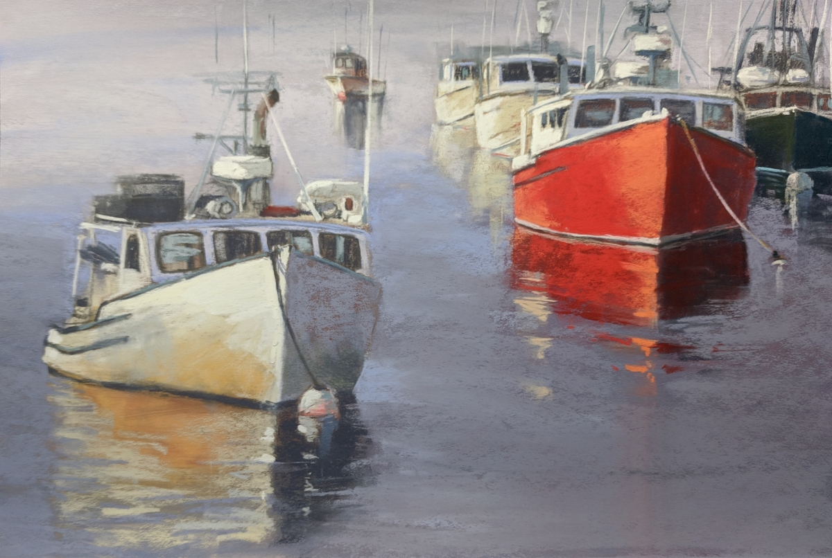 Moored In Chatham    12 x 18 Pastel by Dave Kaphammer   $875