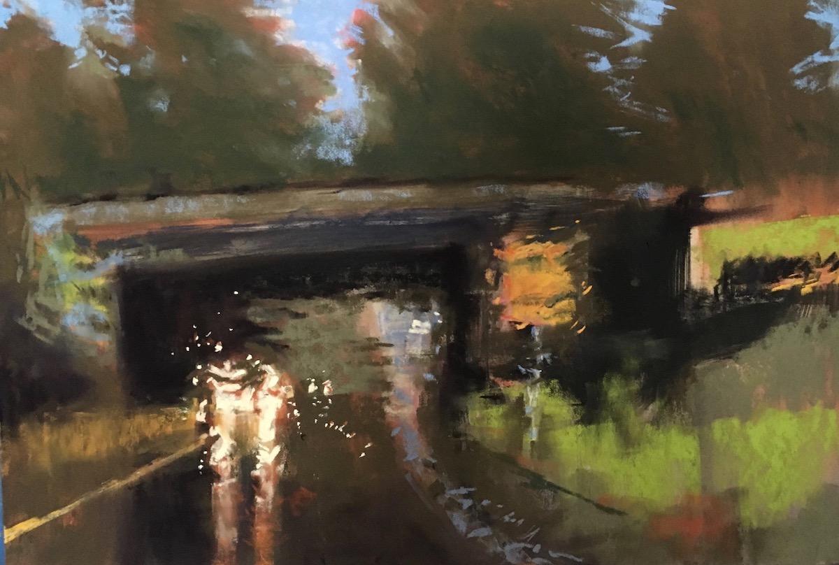 Caution, Flooding Under Bridge   12x18 Pastel by Janet Schwartz $850