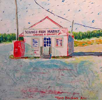 Young's Fish Market Rock Harbor, Orleans   Oil 12 x 12 $350