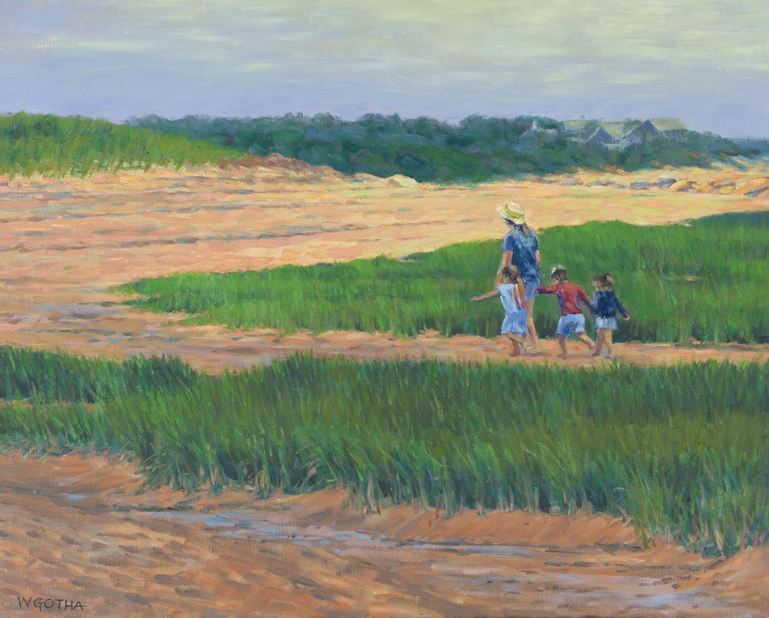 Beach Family   24 x 30 Oil by William Gotha $2800