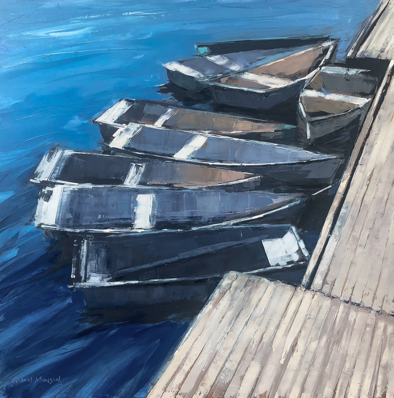 Dock of the Bay   30 x 30 Oil in Board $3500