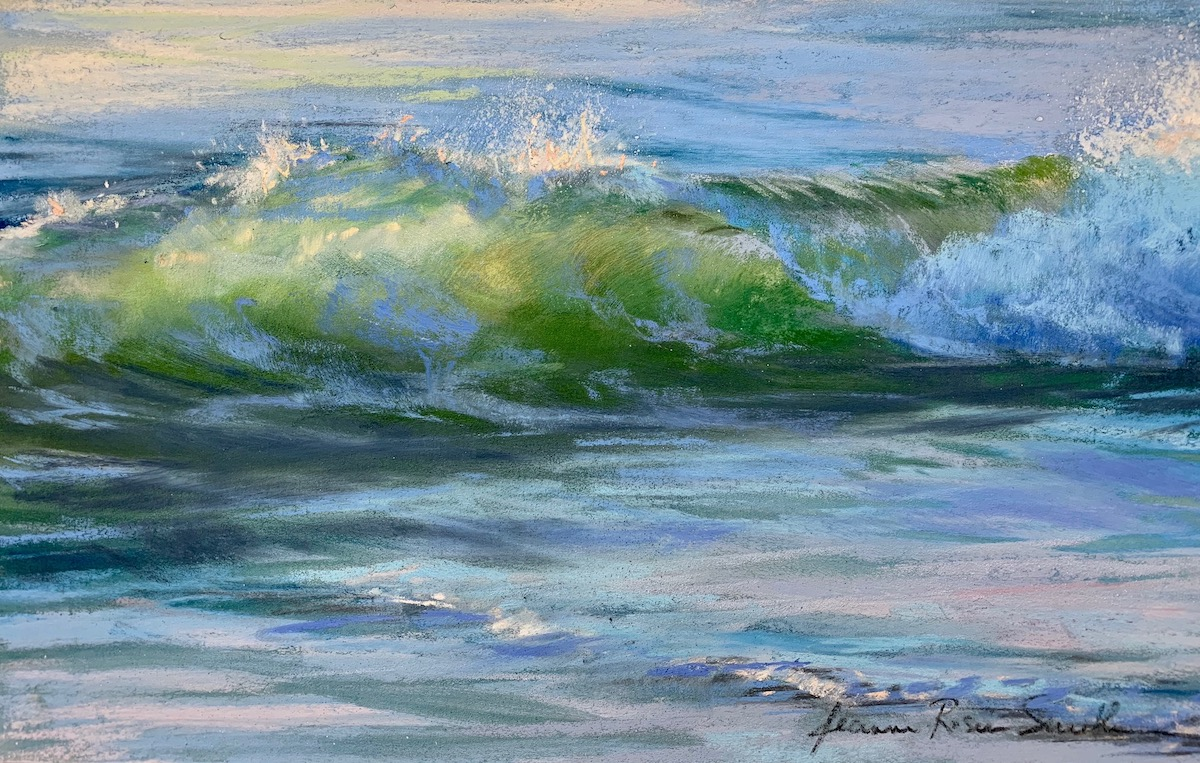 Well, it's taken awhile and a few thousand miles but 'Glimmer' is now what I see when I first wake. A tiny, magical jewel. Thank you, Sherry.   — SATISFIED CLIENT FROM ENGLAND about Jeanne Rosier Smith's wave painting