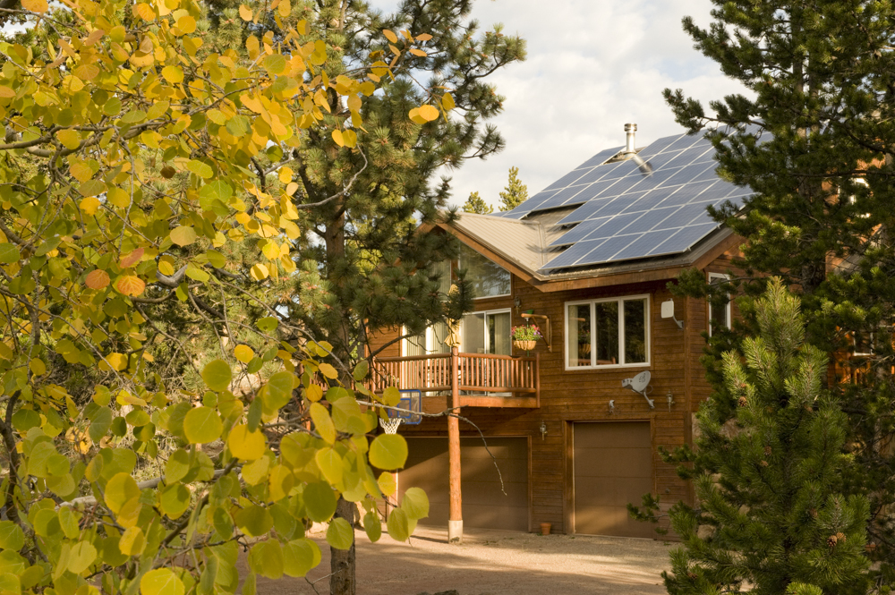 Yellow leaves and a solar home in Colorado