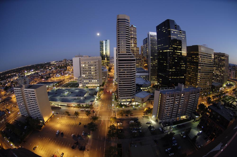 Denver at moonrise