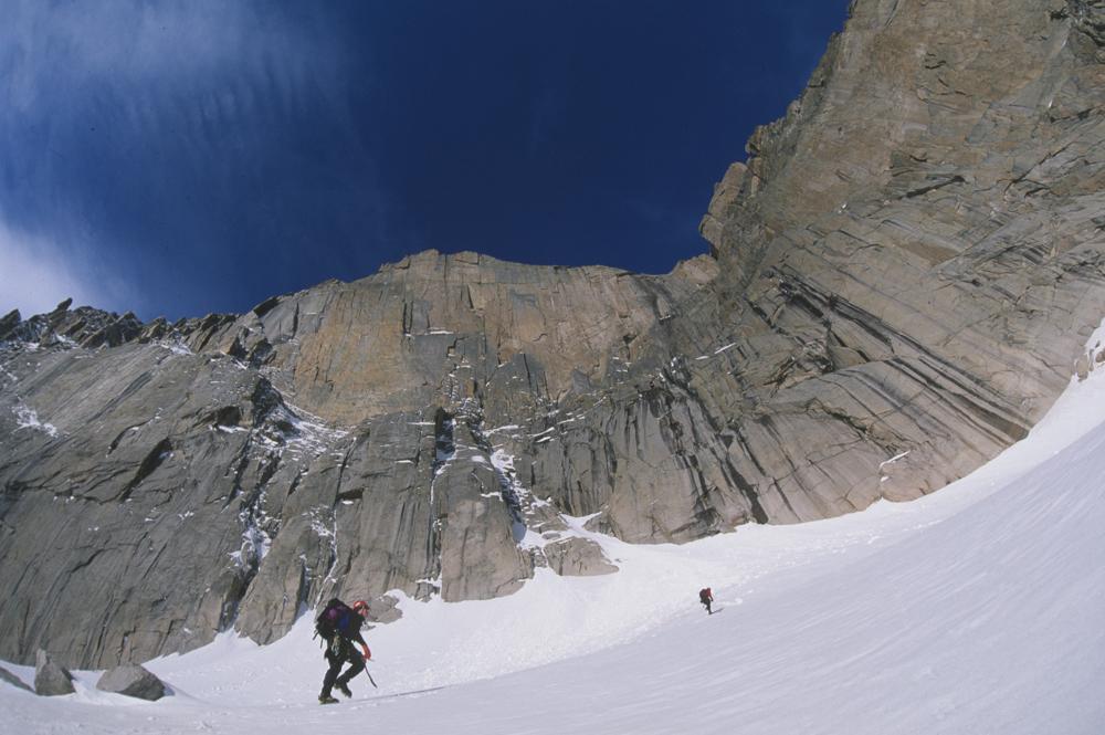 Two climbers approach Longs Peak