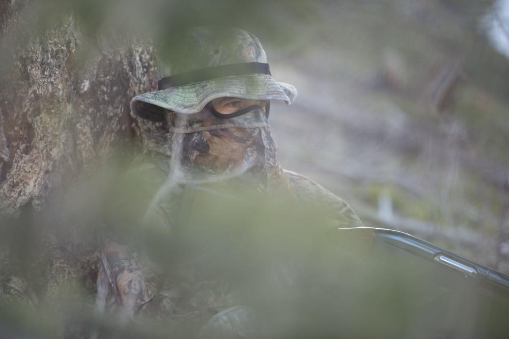 A turkey hunter hiding