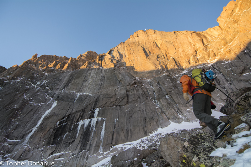 Approaching the Longs Peak's East Face, Smear of Fear on the left.