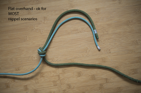 Flat/offset overhand: A reliable knot for trying rope ends together when tied properly with long tails. It's been called the flat overhand and offset overhand.