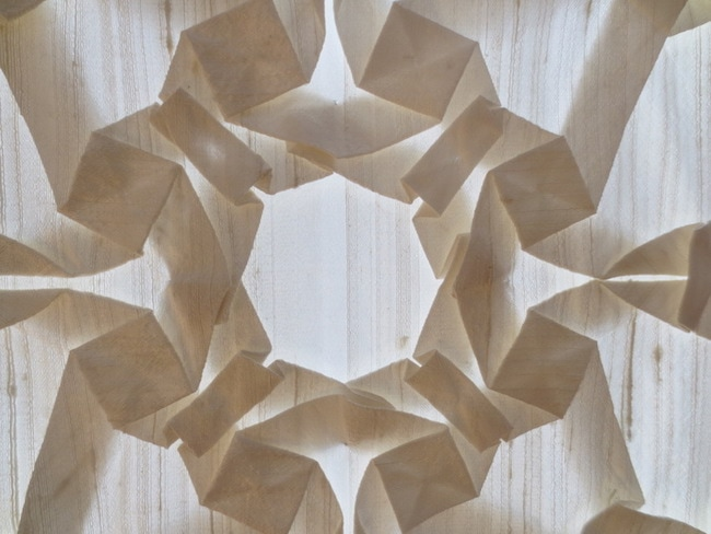 Folded and pleated silk, uncut and undyed, (detail), by Chris Palmer.