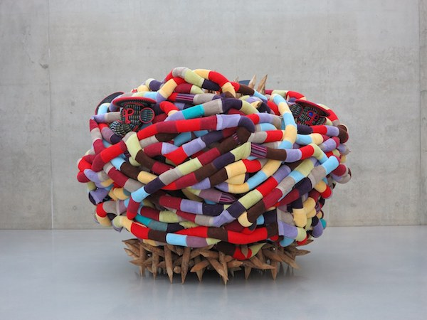 "One part of ""Boomerang"" (2015), by Pascale Marthine Tayou.  Source: http://www.serpentinegalleries.org/exhibitions-events/pascale-marthine-tayou-boomerang"